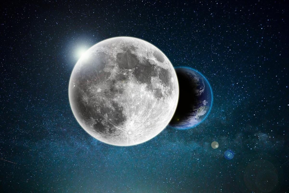太陽、地球及月亮相對位置示意圖。(ShutterStock)