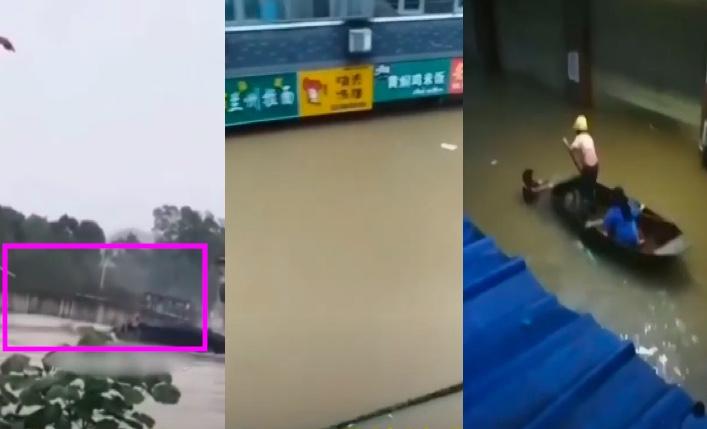 2020年7月7日,江西景德鎮的洪水,不僅將橋樑沖毀、車庫淹沒,還把鎮上房屋、街道淹沒。(影片截圖合成)
