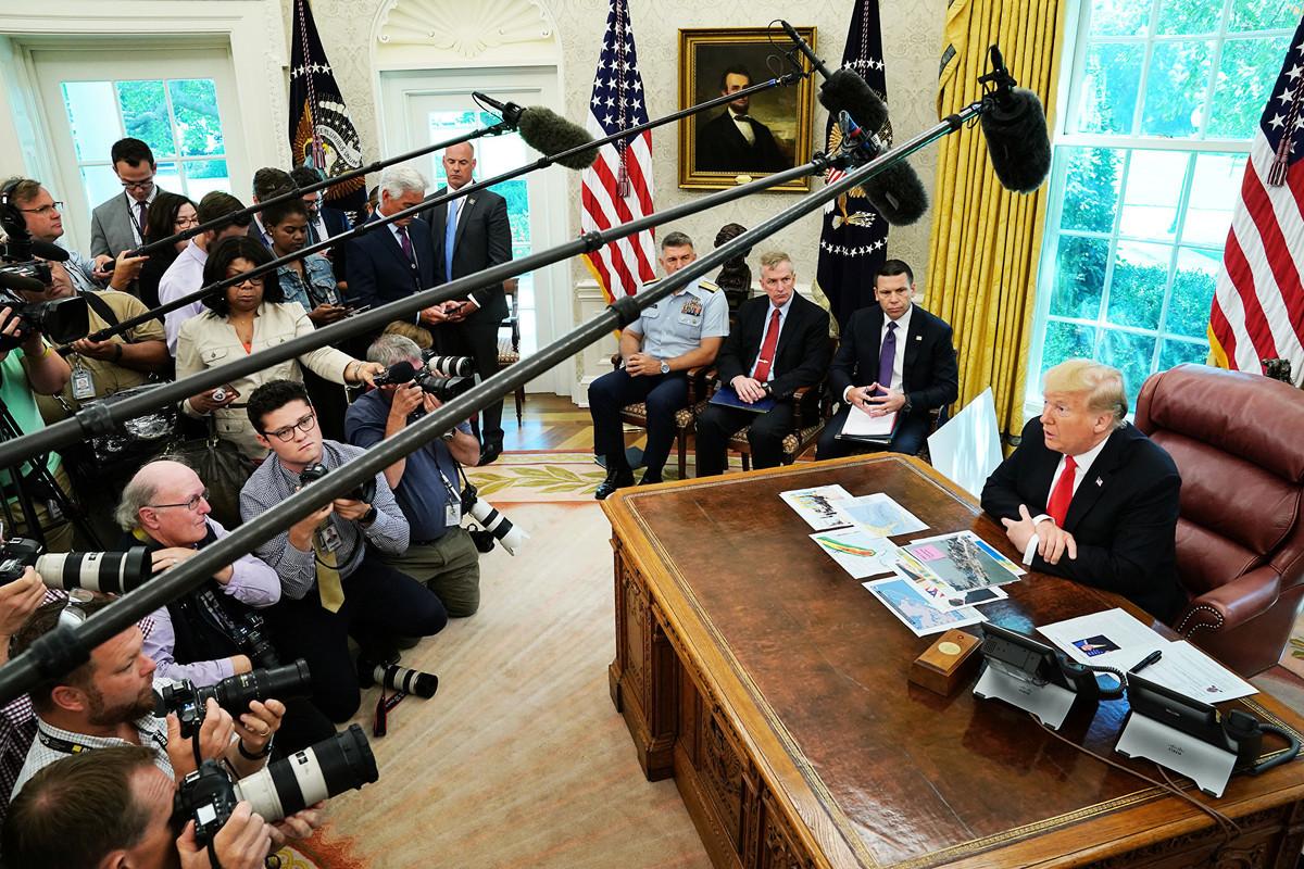 美國總統特朗普周三(9月4日)在橢圓辦公室表示,華為是一個國家安全問題,目前美國和中方談判中不希望討論華為議題。(Chip Somodevilla/Getty Images)