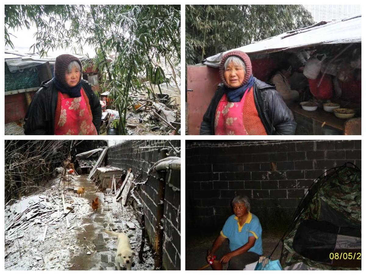 王宇家2013年遭強拆,母親管瑞華搭起窩棚在原址上守候。(受訪者提供)