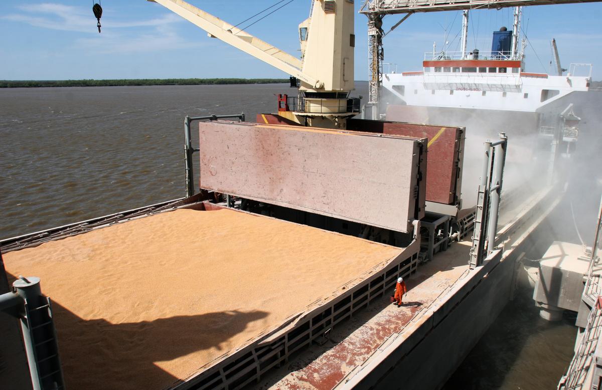 中國以國產大豆為標的的「豆一期貨」價格2020年上半年上漲26%。圖為大豆散裝貨運示意圖。(CARLOS CARRION/AFP)