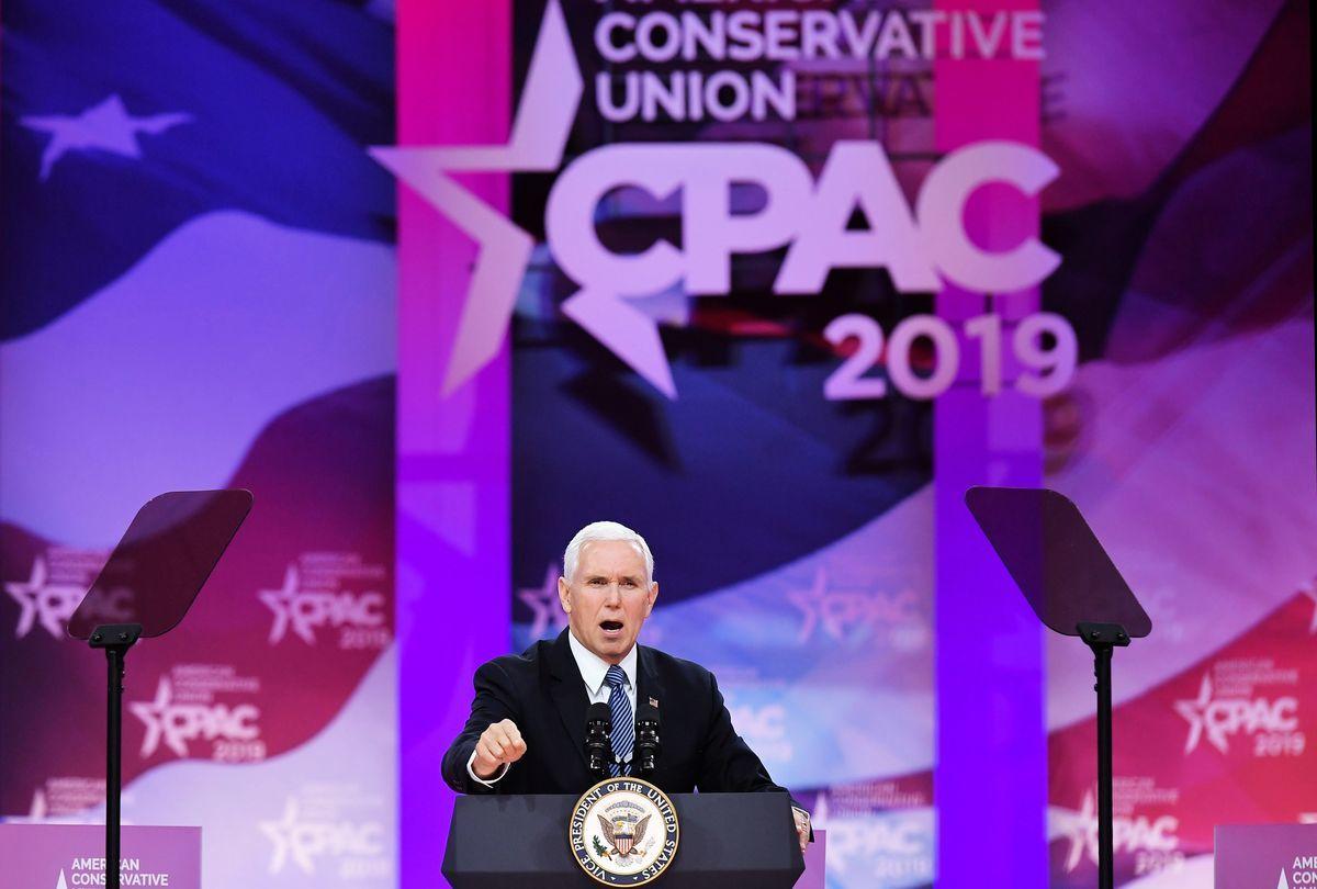 2019年3月1日,美國副總統邁克・彭斯(Mike Pence)在馬里蘭州國家港口(National Harbor)舉行的保守派年度政治行動大會(CPAC)上講話。(MANDEL NGAN/AFP/Getty Images)