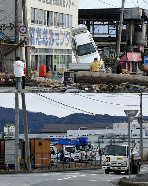日本311大地震重災區岩手縣大船渡市(Ofunato, Iwate)今昔對比圖。上圖攝於2011年3月14日,下圖攝於2021年3月14日。(TOSHIFUMI KITAMURA,KAZUHIRO NOGI/AFP via Getty Images)