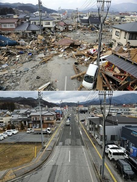 日本311大地震重災區岩手縣大船渡市(Ofunato, Iwate)今昔對比圖。上圖攝於2011年3月14日,下圖攝於2021年3月4日。(TOSHIFUMI KITAMURA,KAZUHIRO NOGI/AFP via Getty Images)