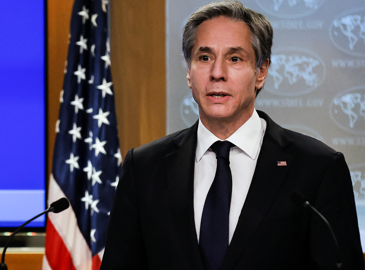 美國國務卿安東尼·布林肯(Antony Blinken)。攝於2021年3月27日。(CARLOS BARRIA/POOL/AFP)