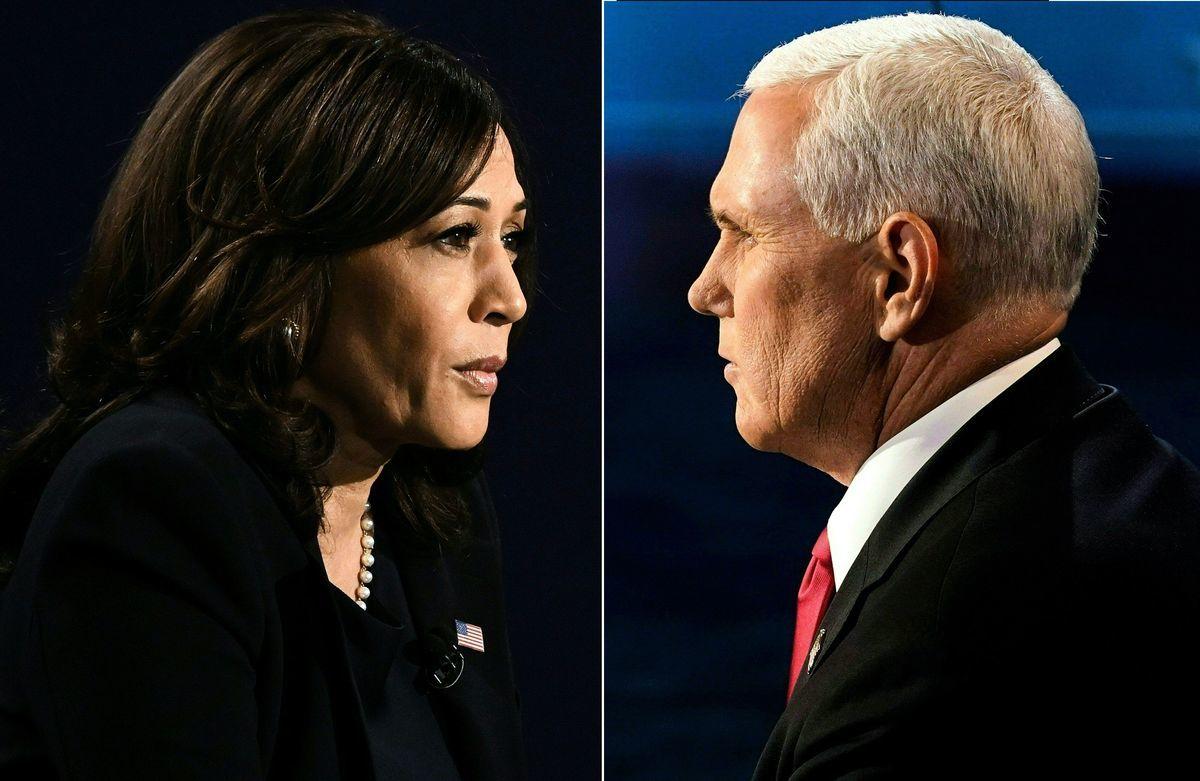 美東時間10月7日,2020美國副總統候選人辯論會上,哈里斯(賀錦麗)稱不信特朗普推薦的疫苗,彭斯回擊——她在玩政治。(MORRY GASH,ERIC BARADAT/POOL/AFP via Getty Images)