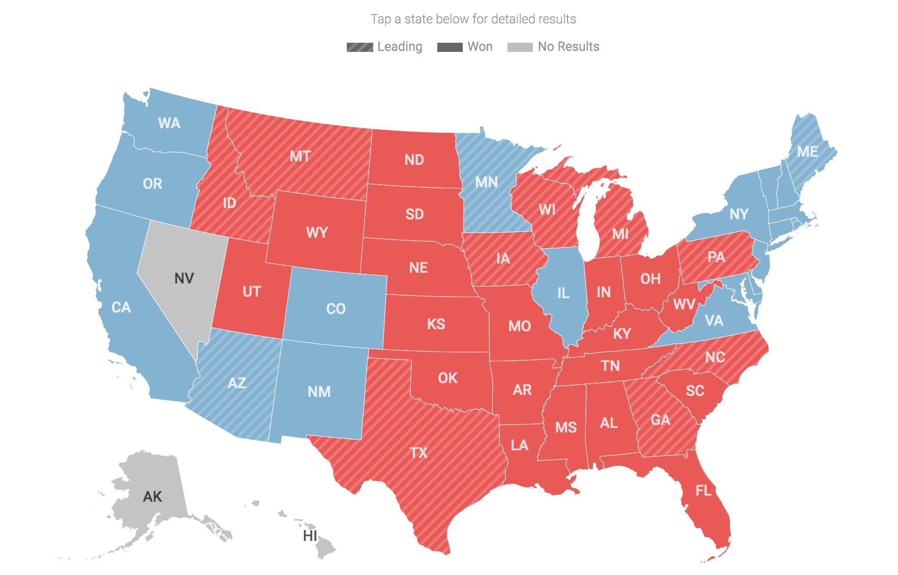 截至美東時間晚上23點50分,在參議院35個席位的爭奪中,已經決出三分之二席位,其中共和黨贏得14席,民主黨拿下9席。還有12席待決。(大紀元圖片)