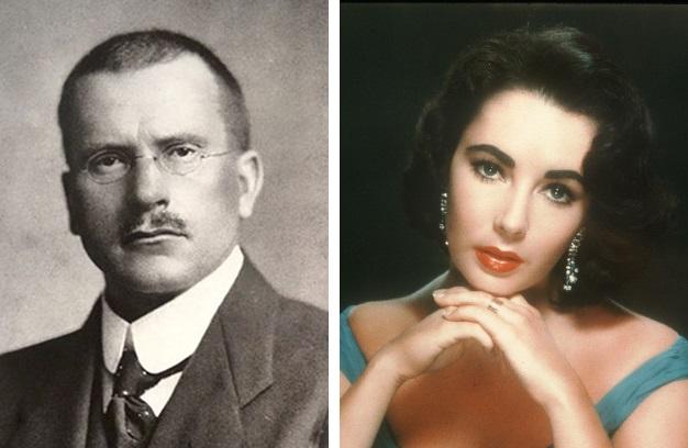 左:瑞士心理學家榮格;右:1960年前後的荷里活影星伊莉莎伯·泰萊。(公有領域,Getty Images/大紀元合成)