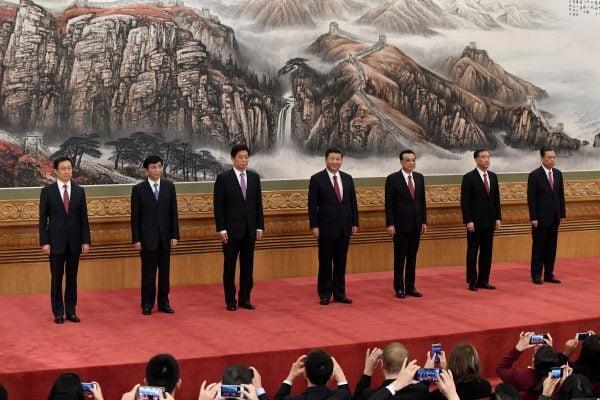 中共十九大落幕後,七名政治局常委現身。(Getty Images)