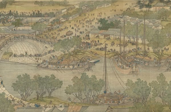 從東南沿海直航天津的海船也帶來福建、廣東、江蘇、浙江的絲綢、瓷器和南洋的香料。示意圖,圖為清院本《清明上河圖》局部。(國立故宮博物院提供)
