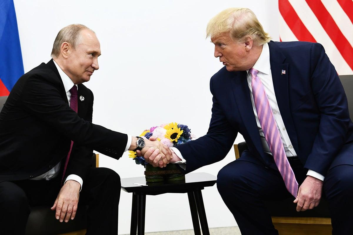 美國總統特朗普和俄羅斯總統弗拉基米爾·普京(Vladimir Putin)(攝於2019年6月28日)。(Brendan Smialowski/AFP)
