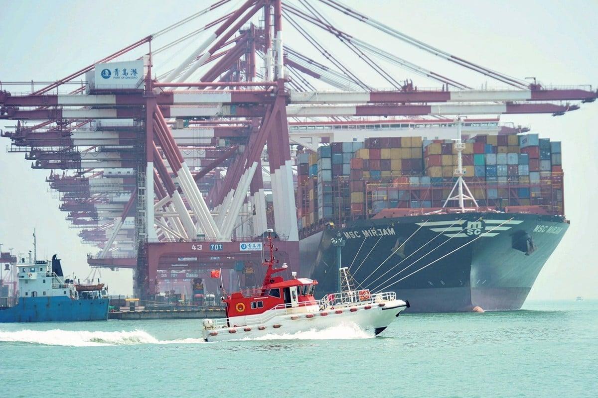 1月15日,劉鶴將於白宮簽署中美第一階段貿易協議,各界關注。圖為山東青島港。(STR/AFP)