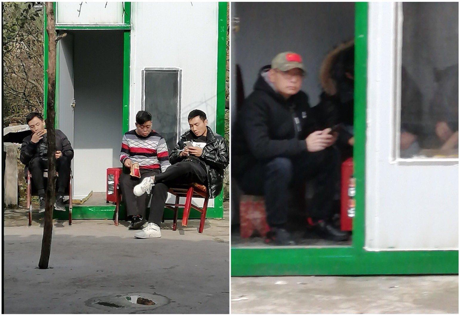 重慶市北碚區蔡家崗街道在肖成林租屋處外面有一間崗哨站,是用來給監控他的這些黑保安休息用的。(受訪者提供/大紀元合成)
