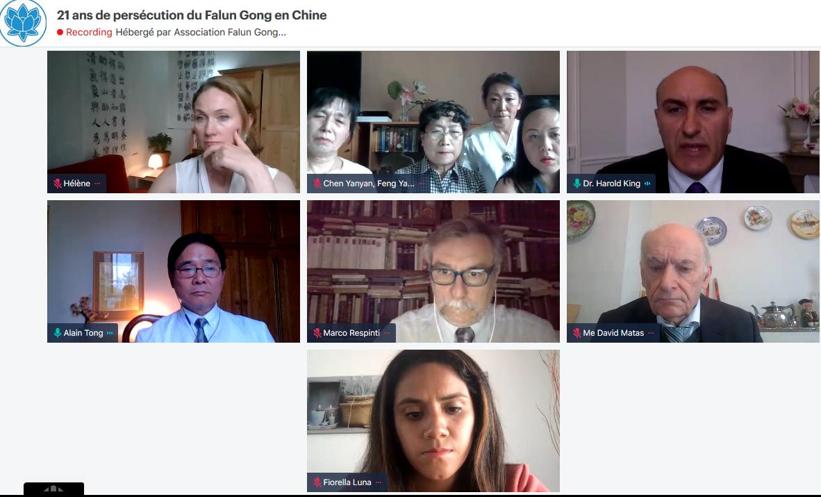 7月16日,法國法輪大法協會於巴黎首次舉行了一次網絡研討會,數位國際人權專家、政界人士與會探討法輪功真相。(網絡截圖)