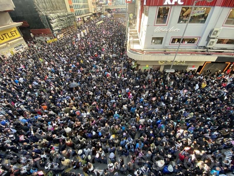 2019年12月8日,香港民陣發起「國際人權日」集會大遊行,遊行至軒尼詩道與博士富街。(駱亞 /大紀元)