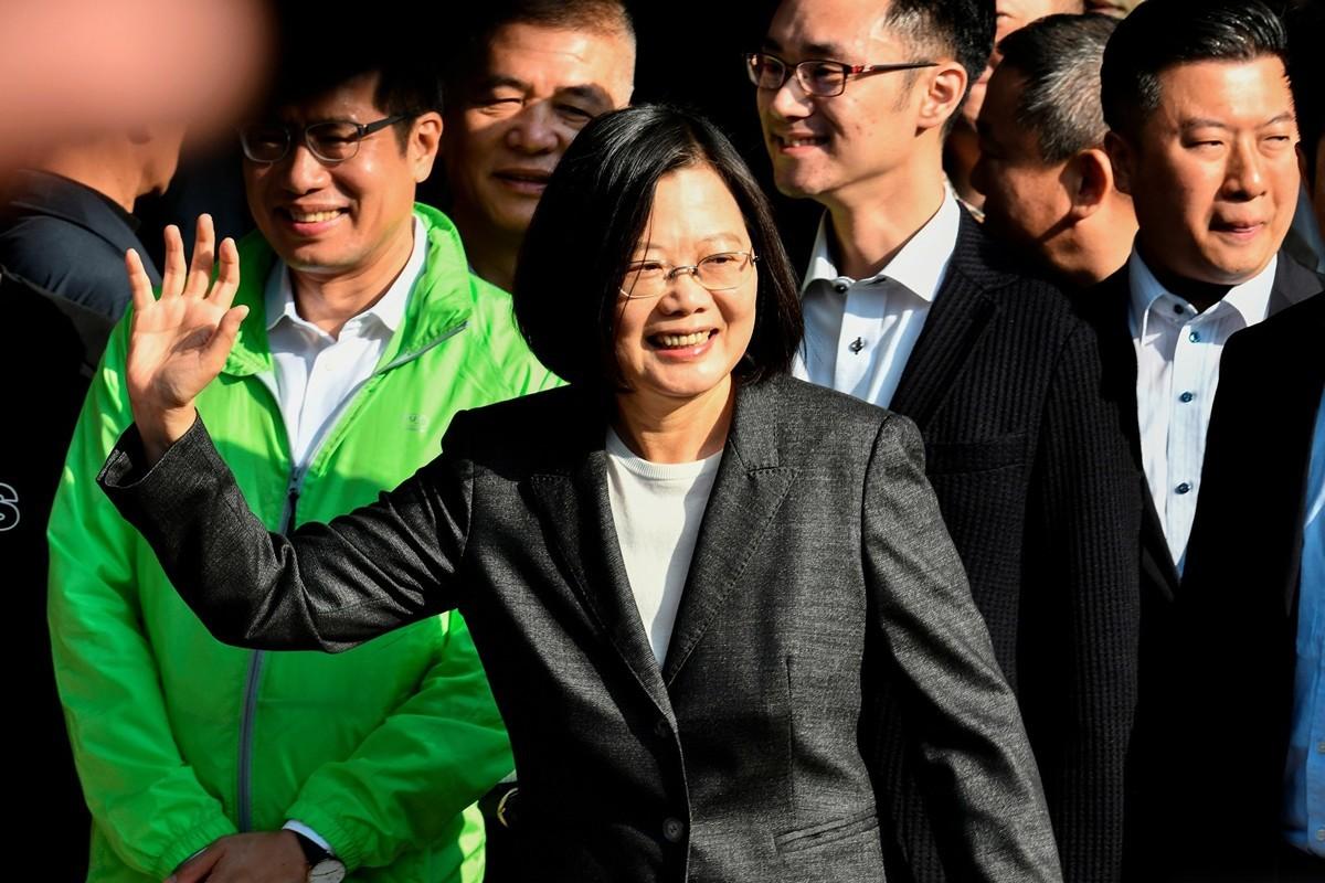 1月11日,蔡英文總統舉行國際記者會。(Photo by Sam Yeh / AFP)