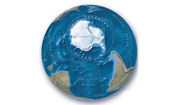 美國國家地理學會近日正式將南大洋認證為世界第五大洋,並將在此後的世界地圖繪製中按照「五大洋」進行劃分。(NASA/ JPL)