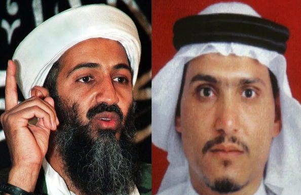 奧薩馬・本・拉登(Osama bin Laden)(左)和他的兒子韓薩・本・拉登(Hamza bin Laden)。(AFP/Getty Images)