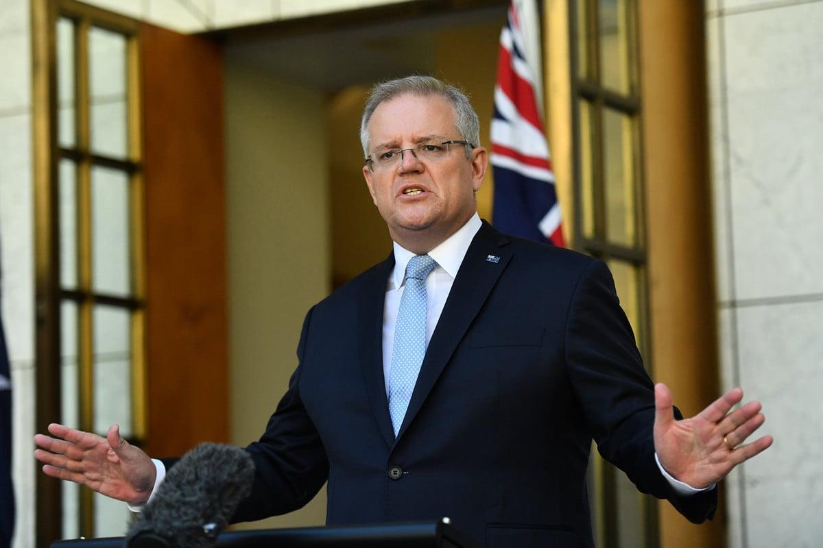 澳洲、日本達成協議,兩國將推動日本自衛隊與澳洲軍方聯合訓練等協定。圖為澳洲總理莫里森,資料照。(Sam Mooy/Getty Images)