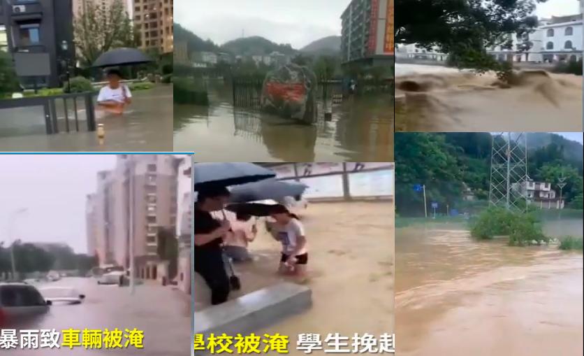 湖北宜昌等地、安徽合肥均遭洪水侵襲。(影片截圖合成)