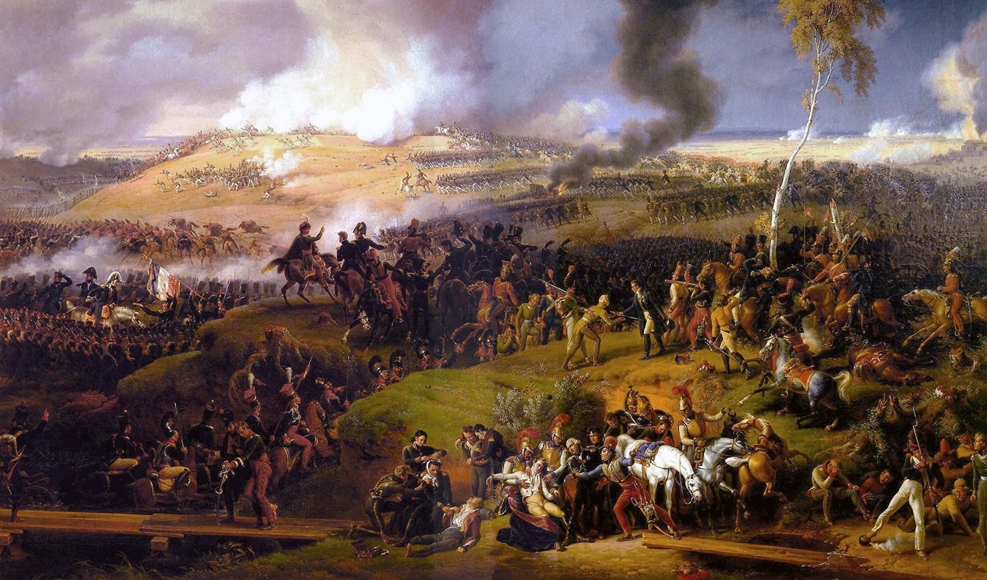 法軍在俄羅斯的博羅季諾與俄軍對戰,結果是法軍慘勝並一度進佔莫斯科,但不久後被迫撤退。(公有領域)