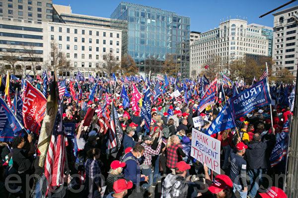 2020年11月14日,華盛頓DC舉辦制止竊選(Stop the Steal)大遊行和集會。(李莎/大紀元)