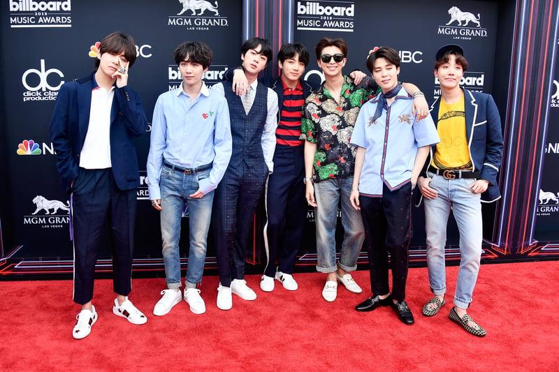 南韓人氣男團防彈少年團(BTS)出席美國告示牌音樂獎活動資料照。(Frazer Harrison/Getty Images)