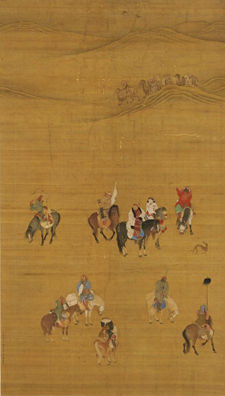有一次忽必烈打獵回來,與察必皇后提到陽光太刺眼。圖為元朝畫家劉貫道於至元十七年(1280年)二月繪製的《元世祖出獵圖》,其中騎著黑馬、身穿白裘的男子是元世祖忽必烈。(公有領域)