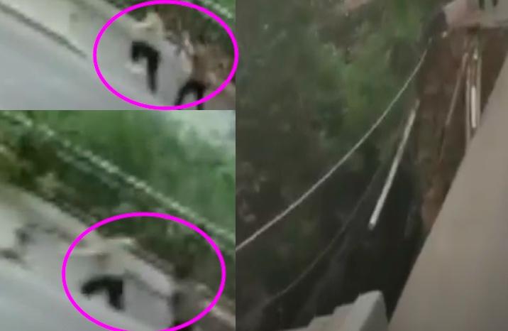 7月27日,重慶市武隆區一路段發生塌陷,導致2名行人墜入坑中。網民指是豆腐渣工程所致,甚至嘲諷官方會用天災來搪塞。(影片截圖合成)
