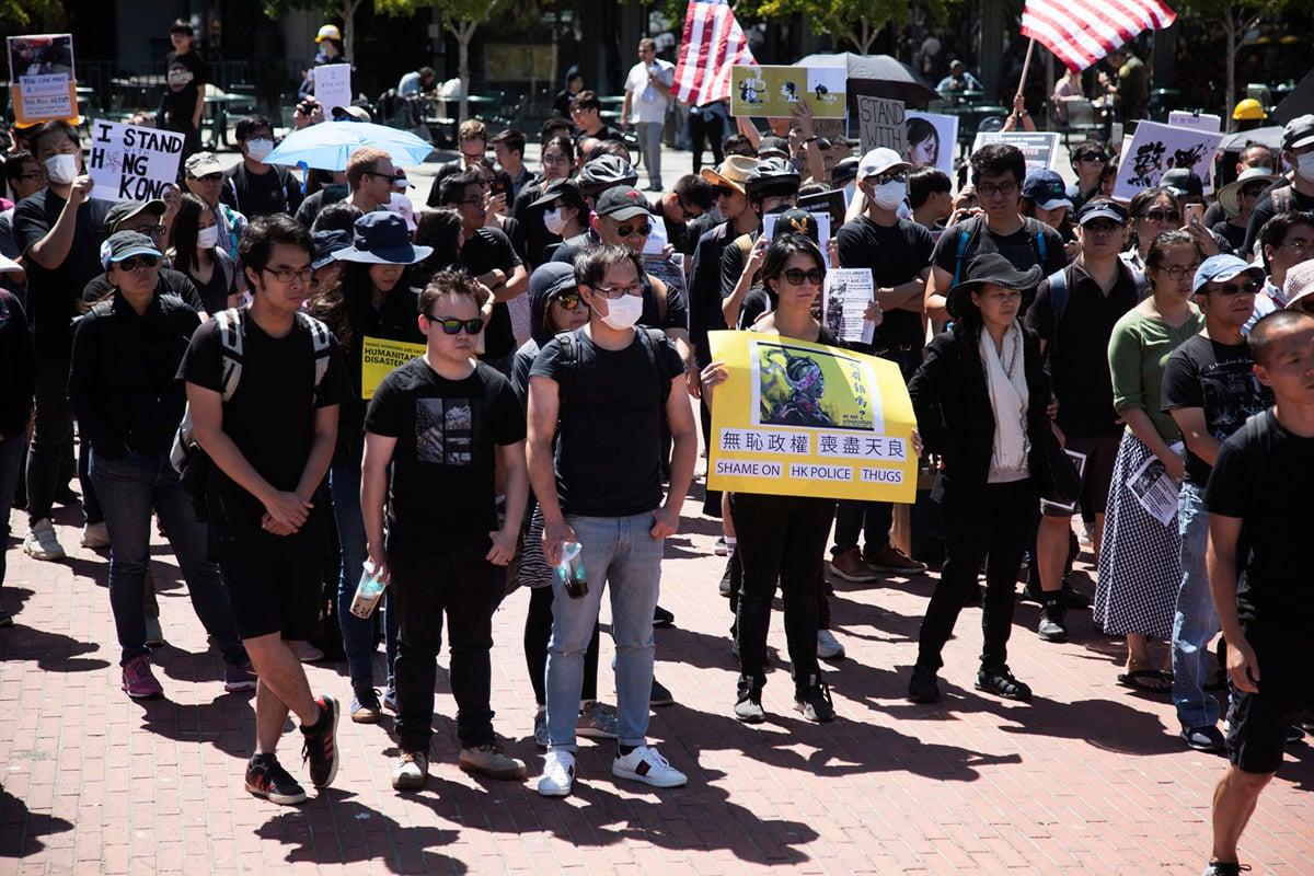 8月17日,在三藩市濱海廣場舉行的譴責港警暴力集會現場。(周鳳臨/大紀元)