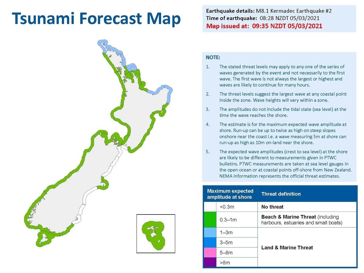 紐西蘭國家緊急事務管理局的海嘯威脅預報圖。(Credit: National Emergency Management Agency)