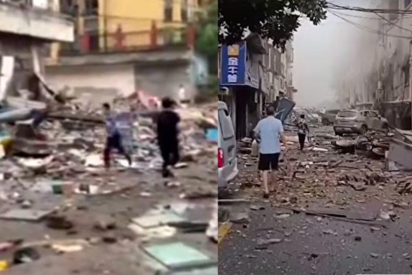 2021年6月13日早6時30分左右,湖北十堰市張灣區豔湖社區菜市場發生大爆炸,造成至少12人死亡,37人重傷。(影片截圖合成)