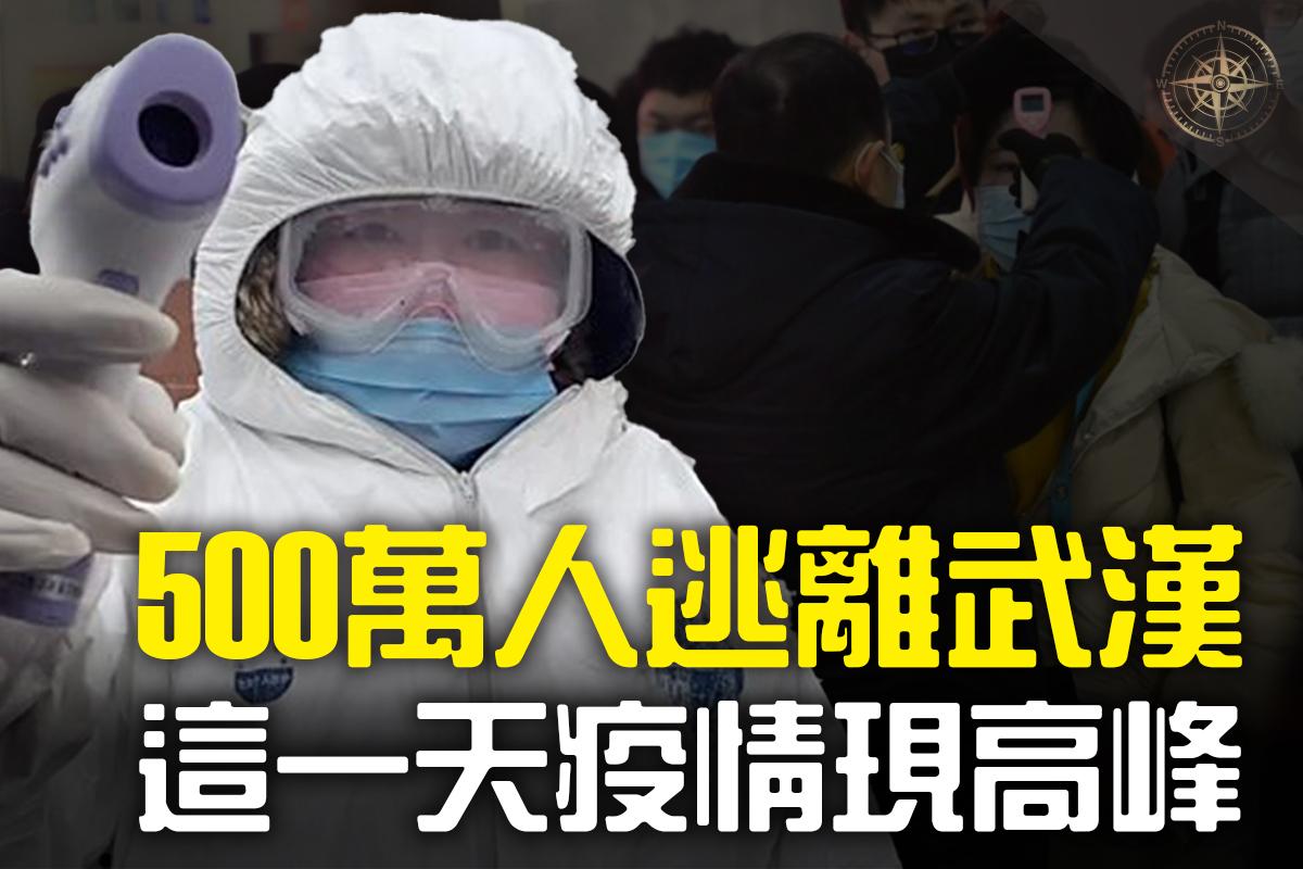 據一項由五名英、美學者聯合進行的研究推算,武漢當地的肺炎疫情很可能會在2月4日達到第一次高峰,估計光是在武漢當地將有超過19萬人感染病毒,最高可達到27萬人。(大紀元合成)