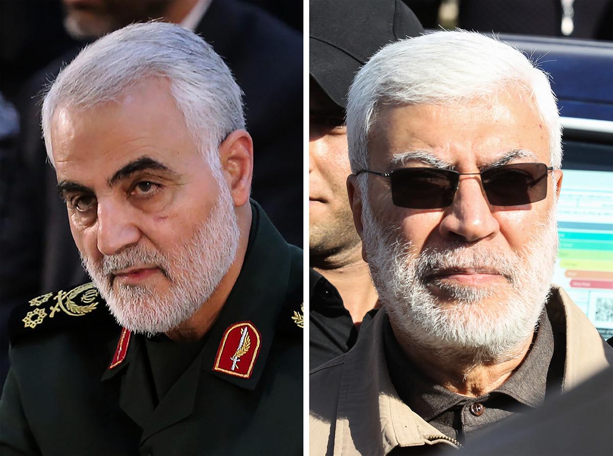 伊朗伊斯蘭革命衛隊聖城旅的頭目卡西姆・索萊馬尼(Qassim Soleimani)將軍(左)與伊朗支持的伊拉克民兵組織「人民動員」(PMF)副指揮官阿布・馬赫迪・穆罕迪斯(Abu Mahdi al-Muhandis)1月3日在伊拉克巴格達機場遭火箭彈擊中身亡。 (Handout and Ahmad AL-RUBAYE/IRANIAN SUPREME LEADER'S WEBSITE/AFP)