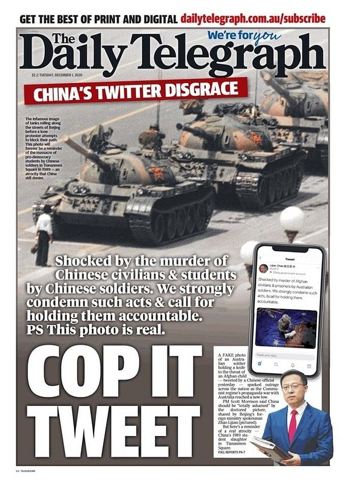 澳洲《每日電訊報》12月1日以頭版刊登1989年六四天安門事件「坦克人」的照片,並模仿趙立堅語氣要求北京為PO假圖片事件究責。(取自twitter.com/IndoPac_Info)