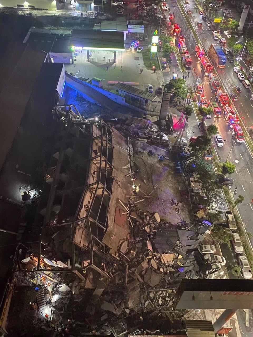 2020年3月7日隔離點酒店坍塌。(網絡圖片)
