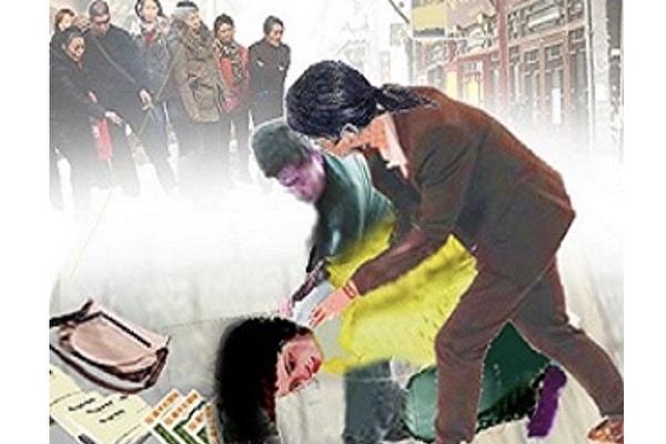 繪畫:中共的暴力綁架。(明慧網)