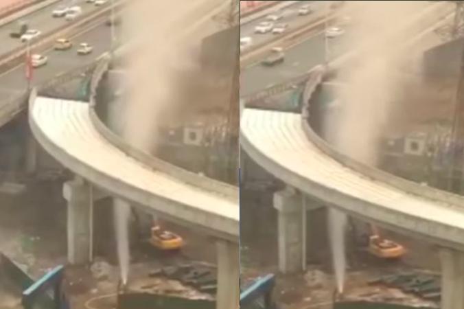 【影片】甘肅蘭州中鐵施工處發生天然氣噴湧