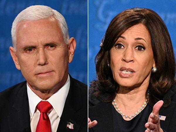 2020年10月7日,現任副總統彭斯(Mike Pence)與民主黨副總統候選人賀錦麗(Kamala Harris)在猶他州鹽湖城的猶他大學金斯伯瑞禮堂進行大選中唯一的一場副首候選人辯論。圖為合成照。(ERIC BARADAT,ROBYN BECK/AFP via Getty Images)