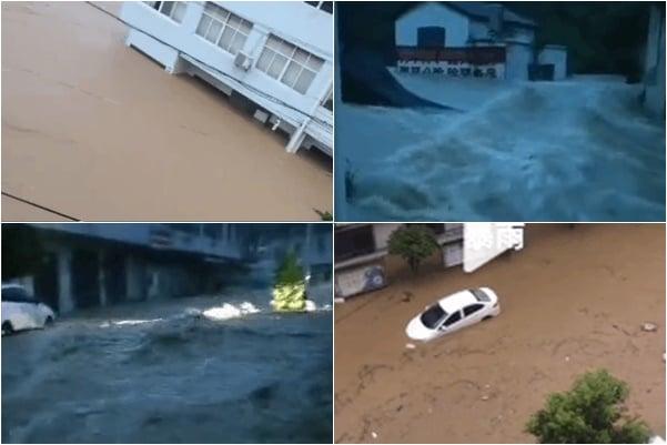 連續兩日,湖北部份地區遭遇特大暴雨。其中隨州大雨引發較大洪水,柳林鎮被淹,臨街部份店舖被淹至2樓,當地電力、通訊中斷。(大紀元合成)