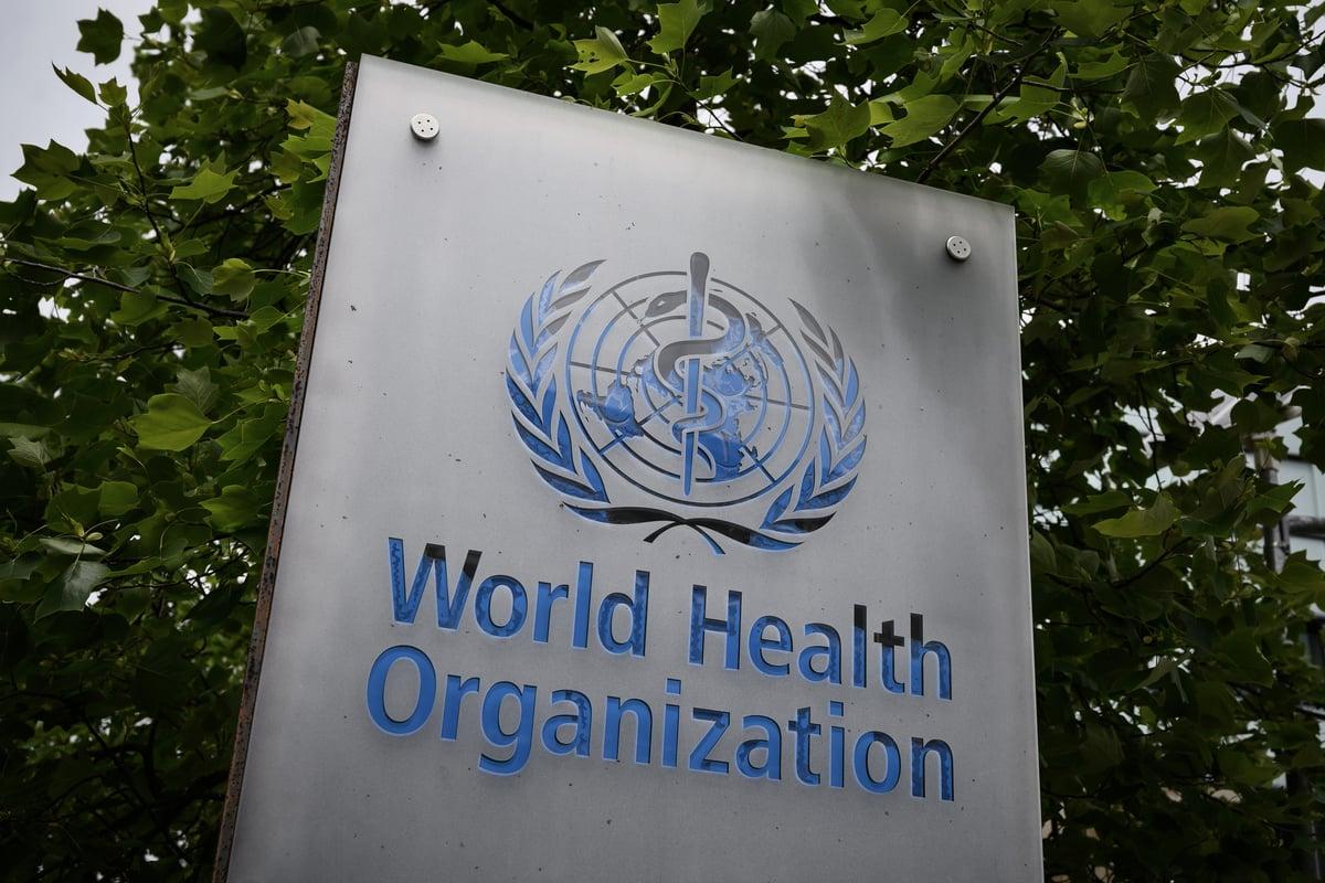圖為世界衛生組織的logo。(Fabrice COFFRINI/AFP)