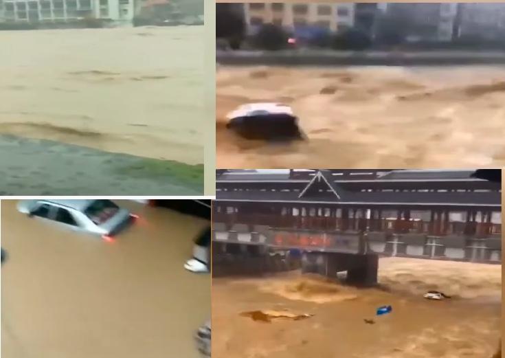 最近兩天,湖北省恩施州建始縣暴雨,全縣道路多處中斷,城區內大面積停電,啟動防汛一級響應。網傳影片顯示,當地洪水滾滾。(影片截圖合成)