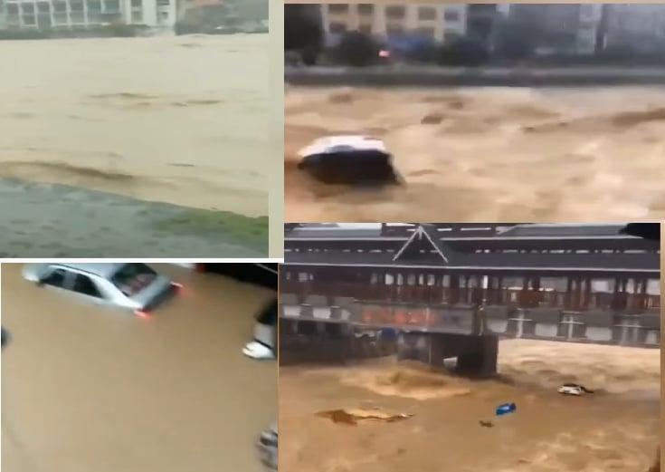 湖北建始縣居民樓淹水逾2米 汽車被洪水沖走