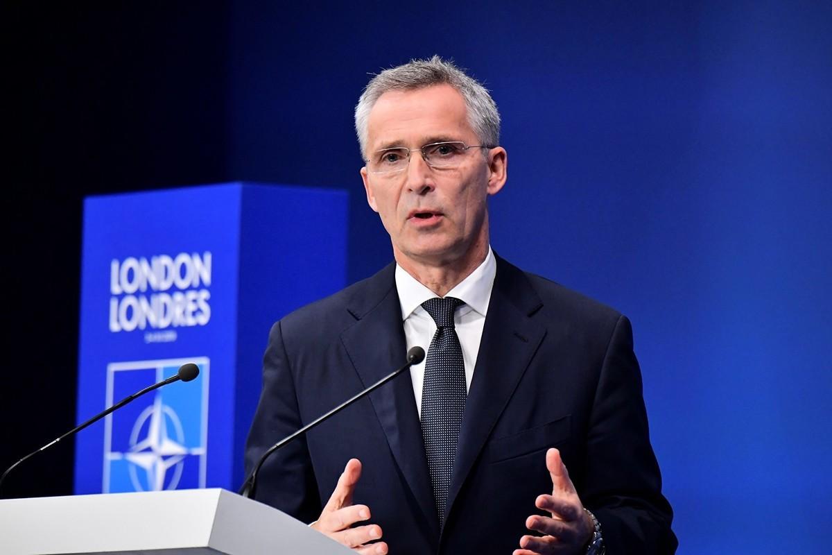 2019年12月4日在倫敦召開北約峰會的北約秘書長斯托爾滕貝格。(Tobias SCHWARZ/AFP)