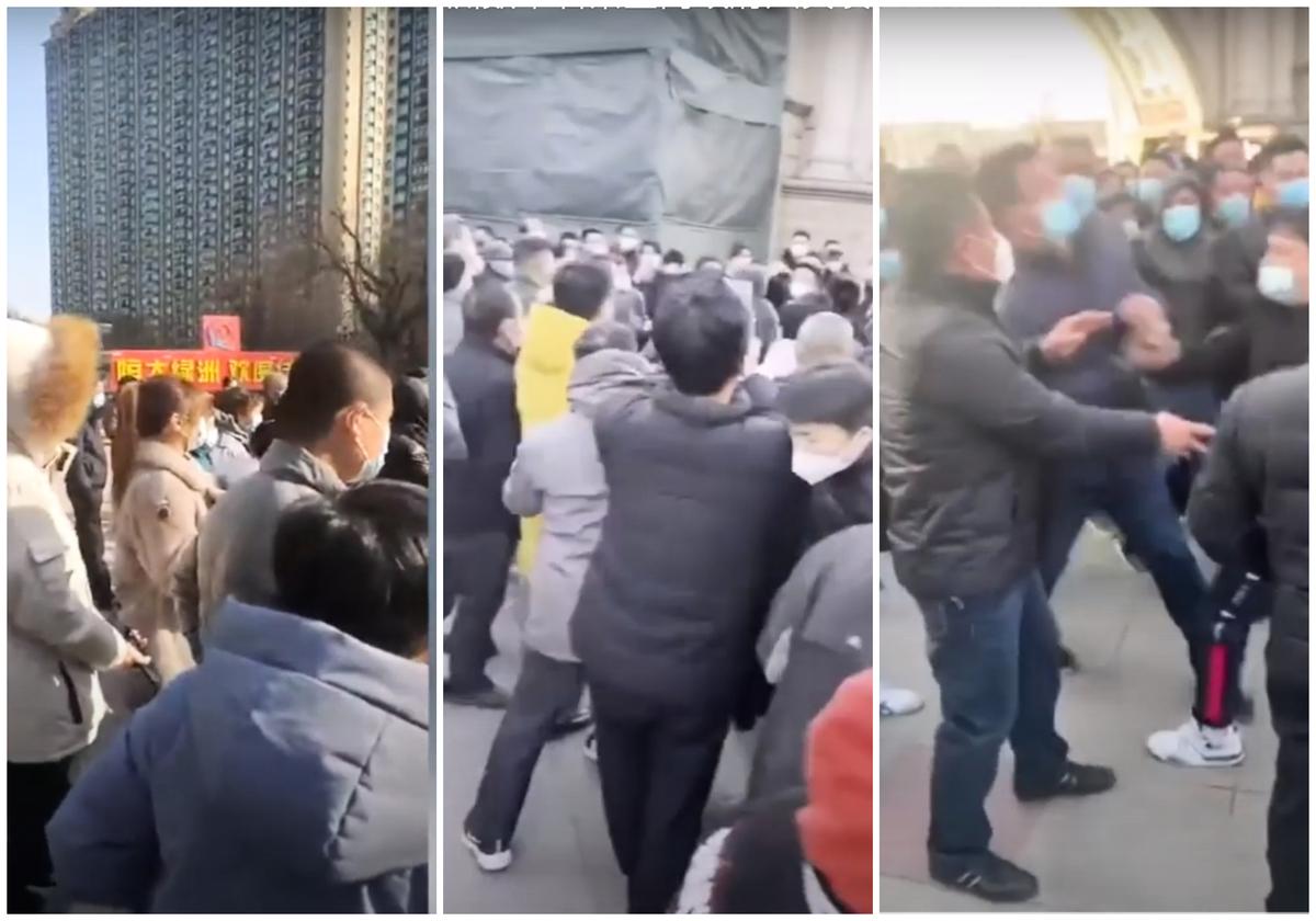 藁城區恆大綠洲數千名小區業主同政府人員發生衝突。(影片截圖合成)