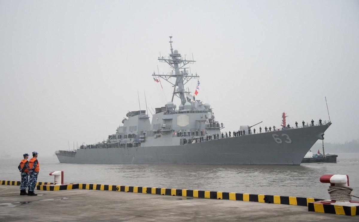 周一,美國太平洋艦隊(U.S. Pacific Fleet)在一份聲明中說,驅逐艦「史塔森號」(Stethem,如圖)和後勤彈藥補給艦「查維斯號」(Cesar Chavez)25日通過台灣海峽。(JOHANNES EISELE/AFP/Getty Images)
