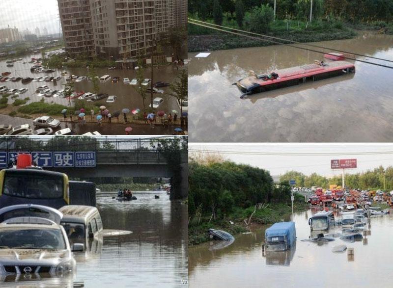 2012年7月21日,北京遭遇強降雨,城市內澇嚴重,官方稱160多萬人受災,其中79人死亡,經濟損失上百億元。(大紀元合成圖片)