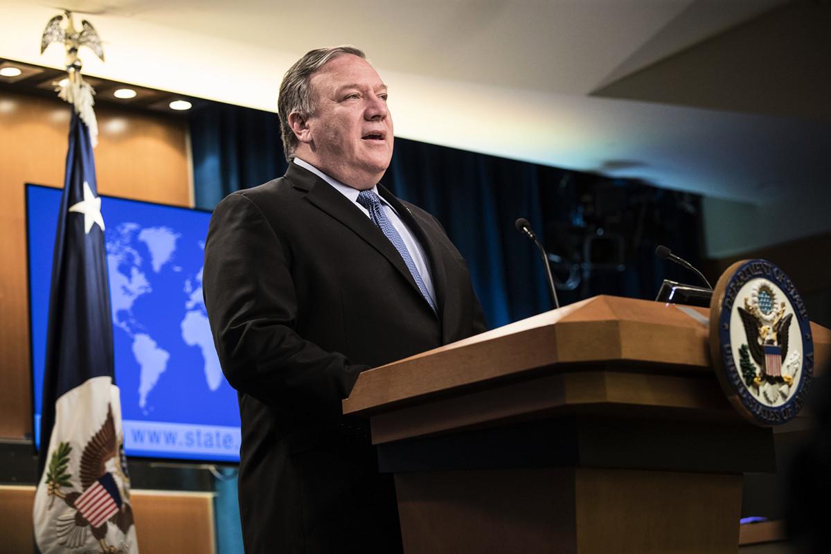 美國國務卿蓬佩奧於8月6日在媒體上刊文說,特朗普政府的施壓正在削弱伊朗政權。圖為2019年6月21日,蓬佩奧在國務院發言。(Sarah Silbiger/Getty Images)