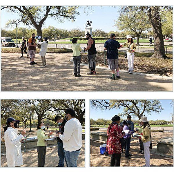 法輪功學員每周末在荷門公園向人們徵簽,反對中共迫害。(明慧網)