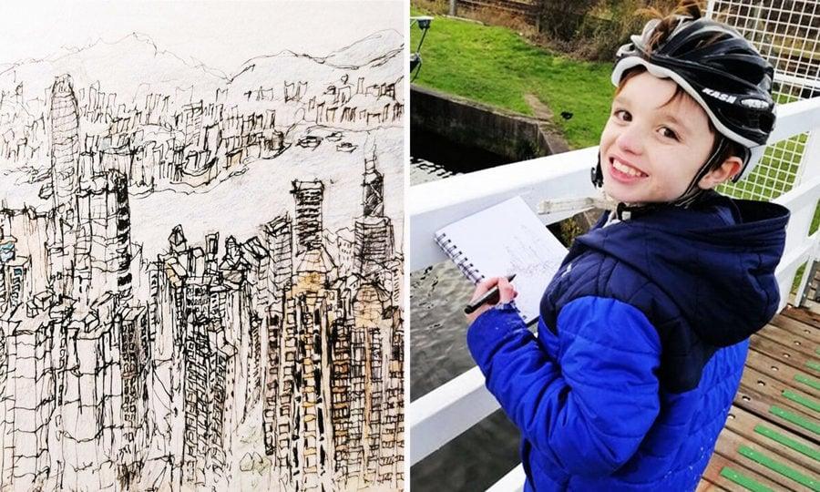 英11歲自閉症男孩 看一眼就能畫出街景圖